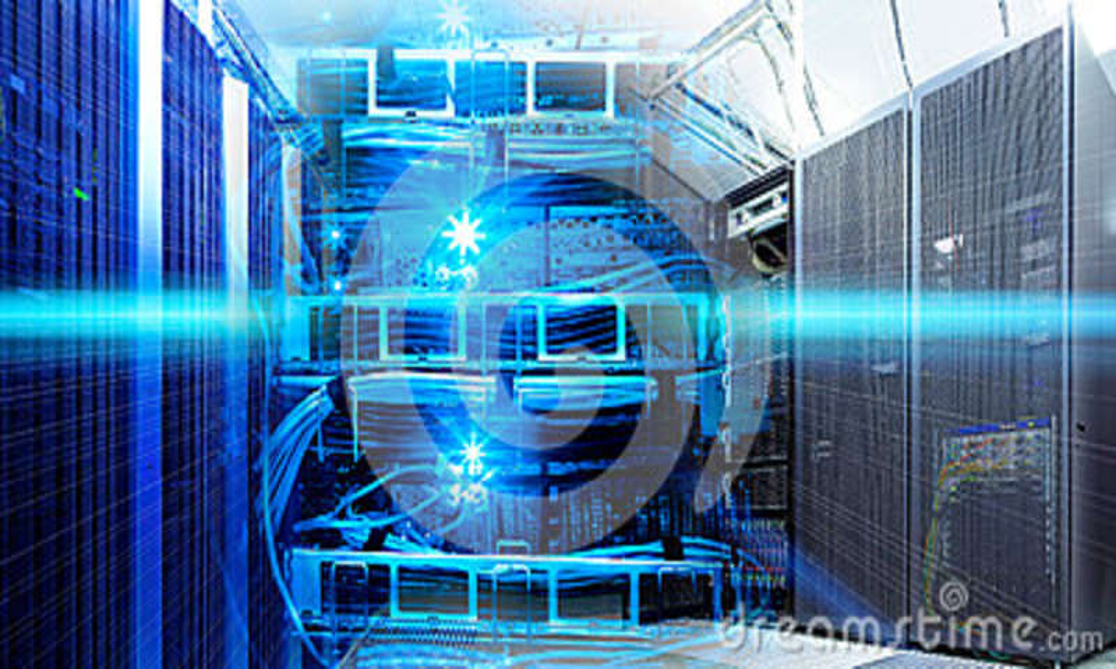 Collage de technologie de l information de centre de traitement des données avec l équipement de supports et le routeur de câbles