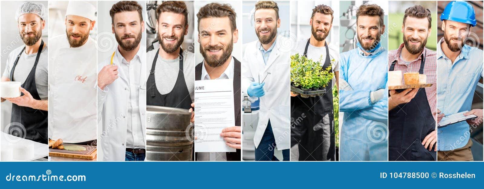 Collage de un hombre con diversas profesiones