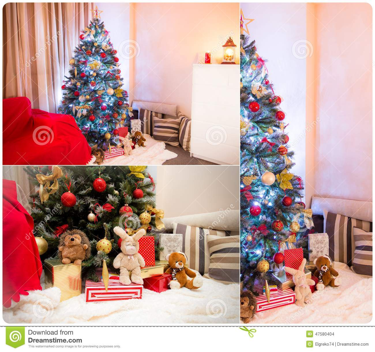 Collage of decorated Christmas tree in a room