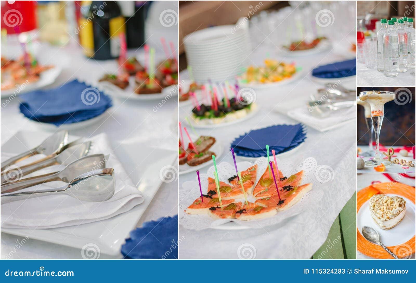 Collage del abastecimiento de la boda - comida y loza para la cena del ensayo