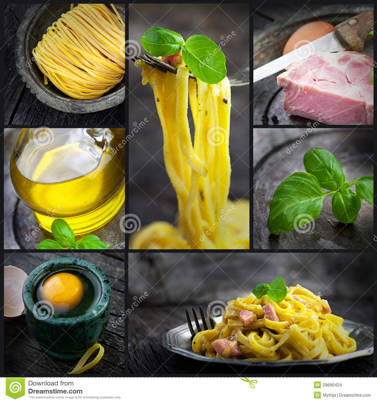 Collage del carbonara de las pastas