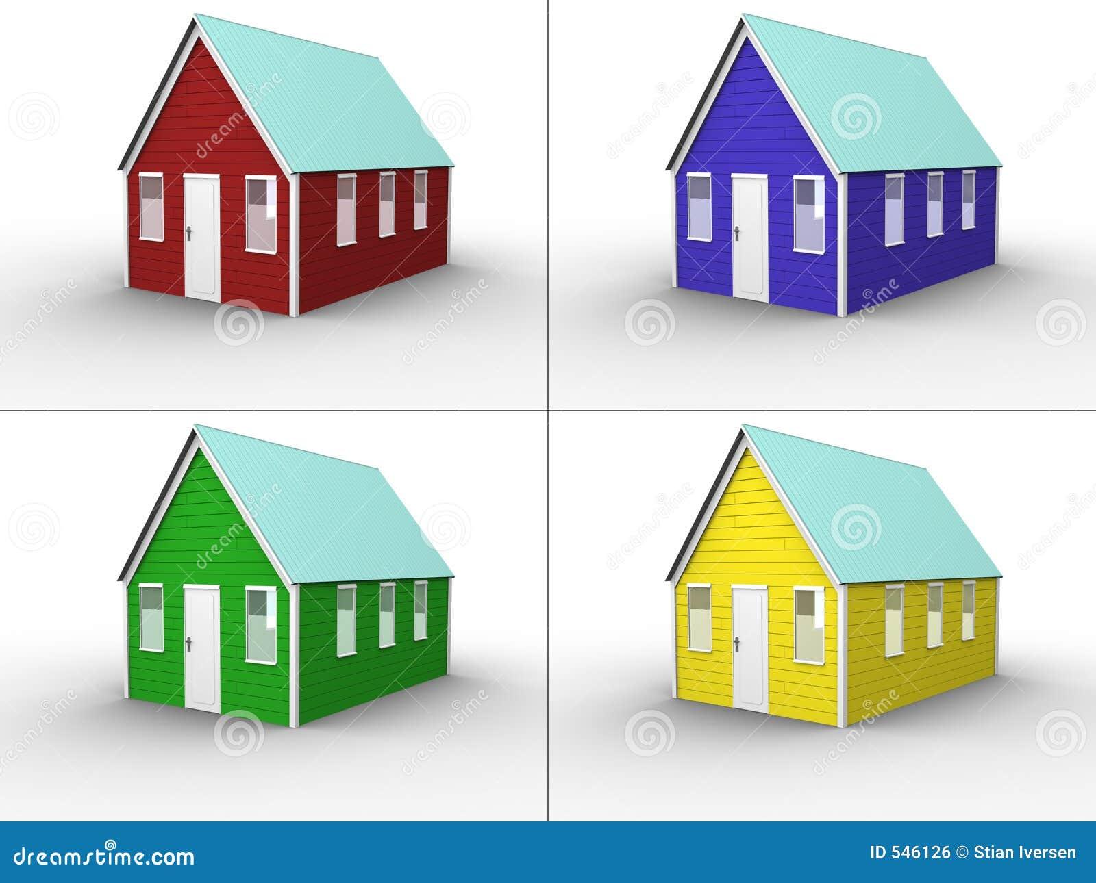 Collage Del Color De La Casa Stock De Ilustración Ilustración De