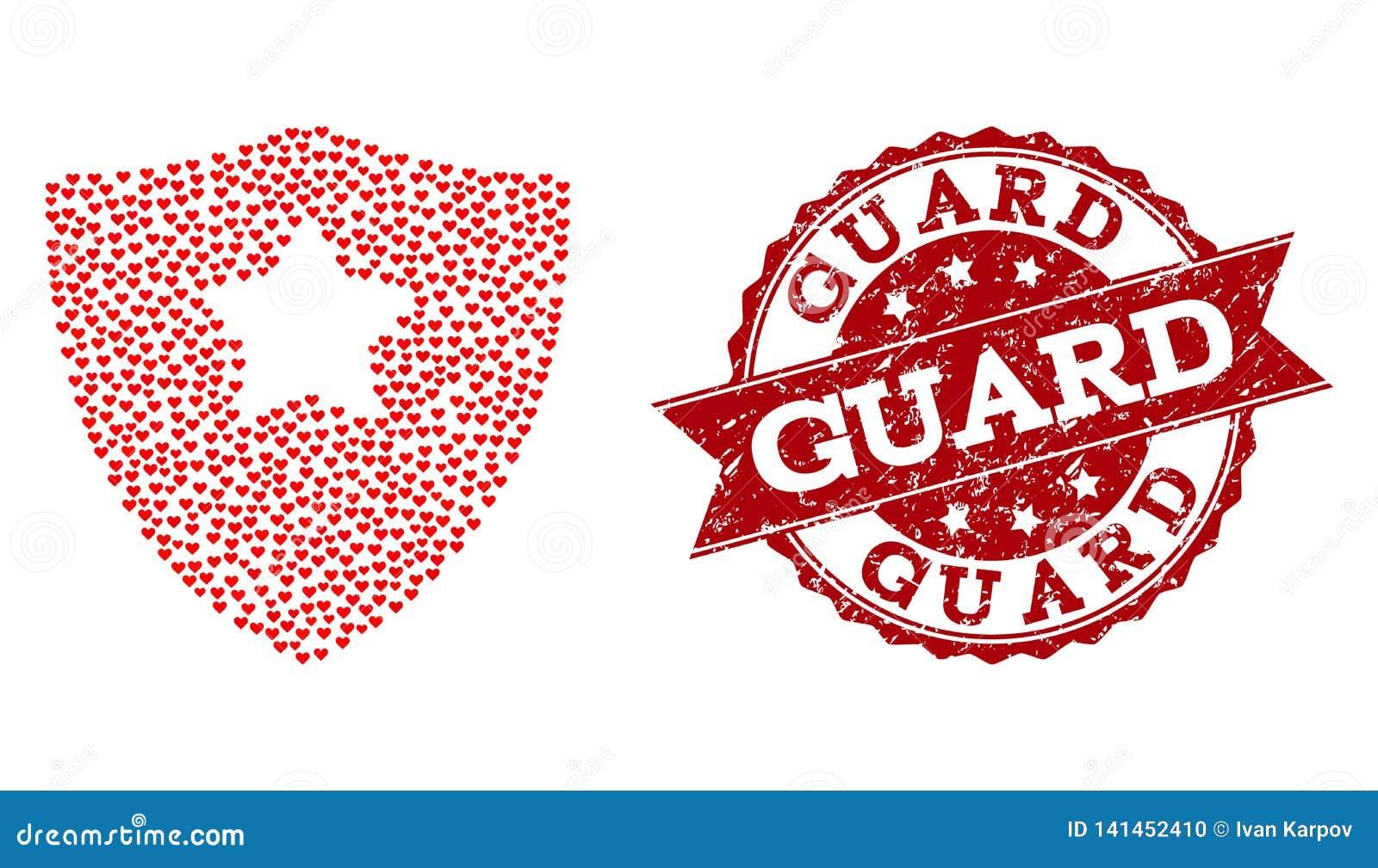 Collage del corazón del amor del guardia Shield Icon y del sello del Grunge