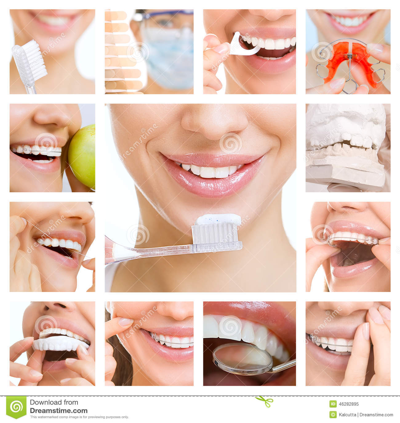 Collage de fotografías en el tema del cuidado dental y de los dientes sanos d4d7265c4c78