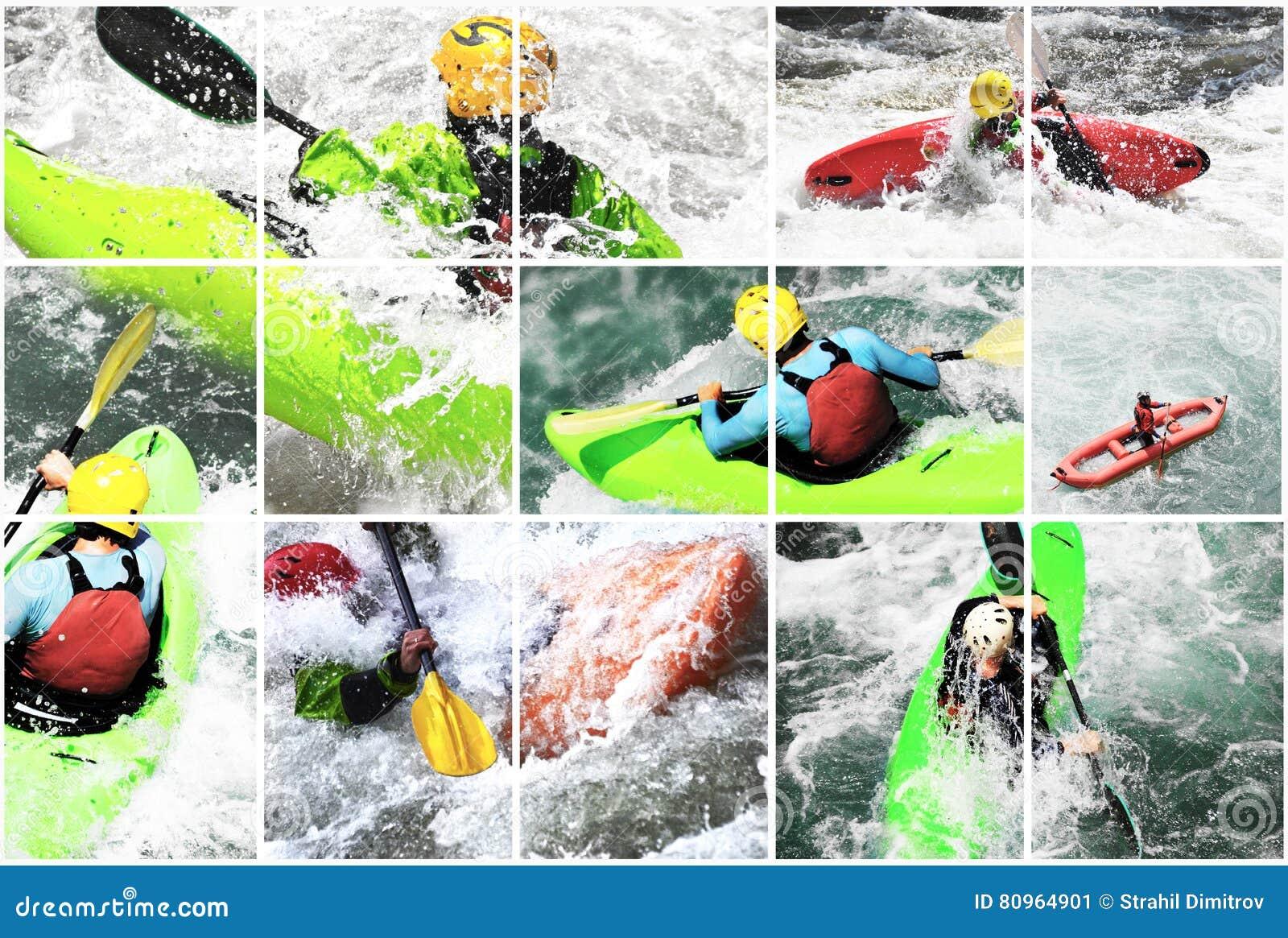 Collage del kajak de Whitewater,