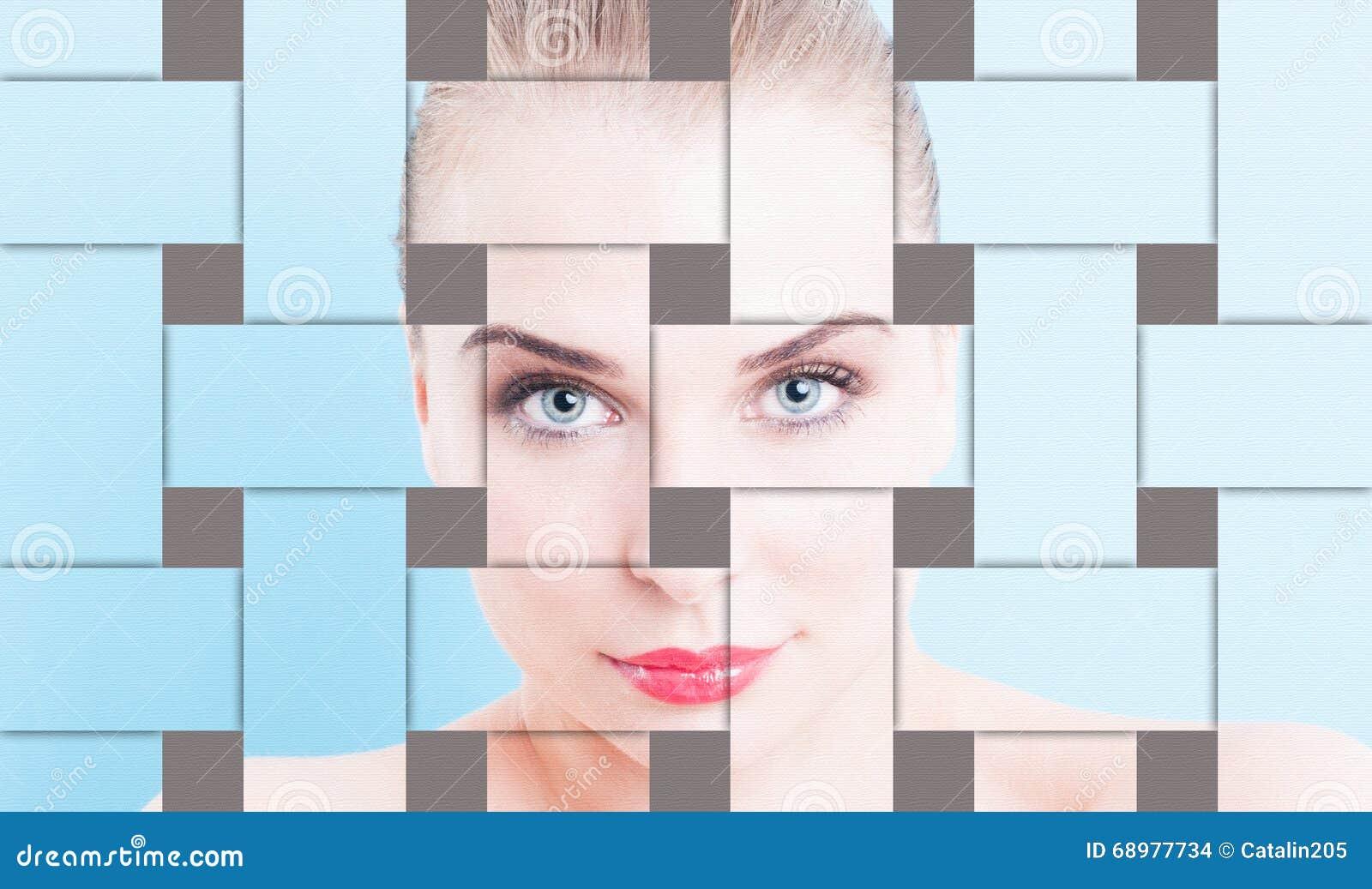 Collage del primer con el retrato sin defectos y el makeu de la mujer hermosa