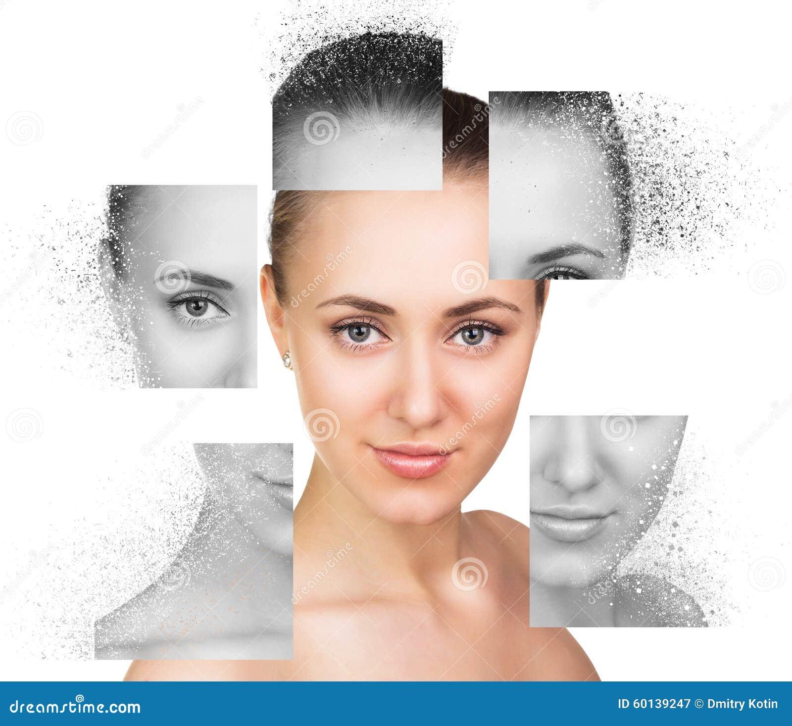 Collage del retrato de la mujer joven