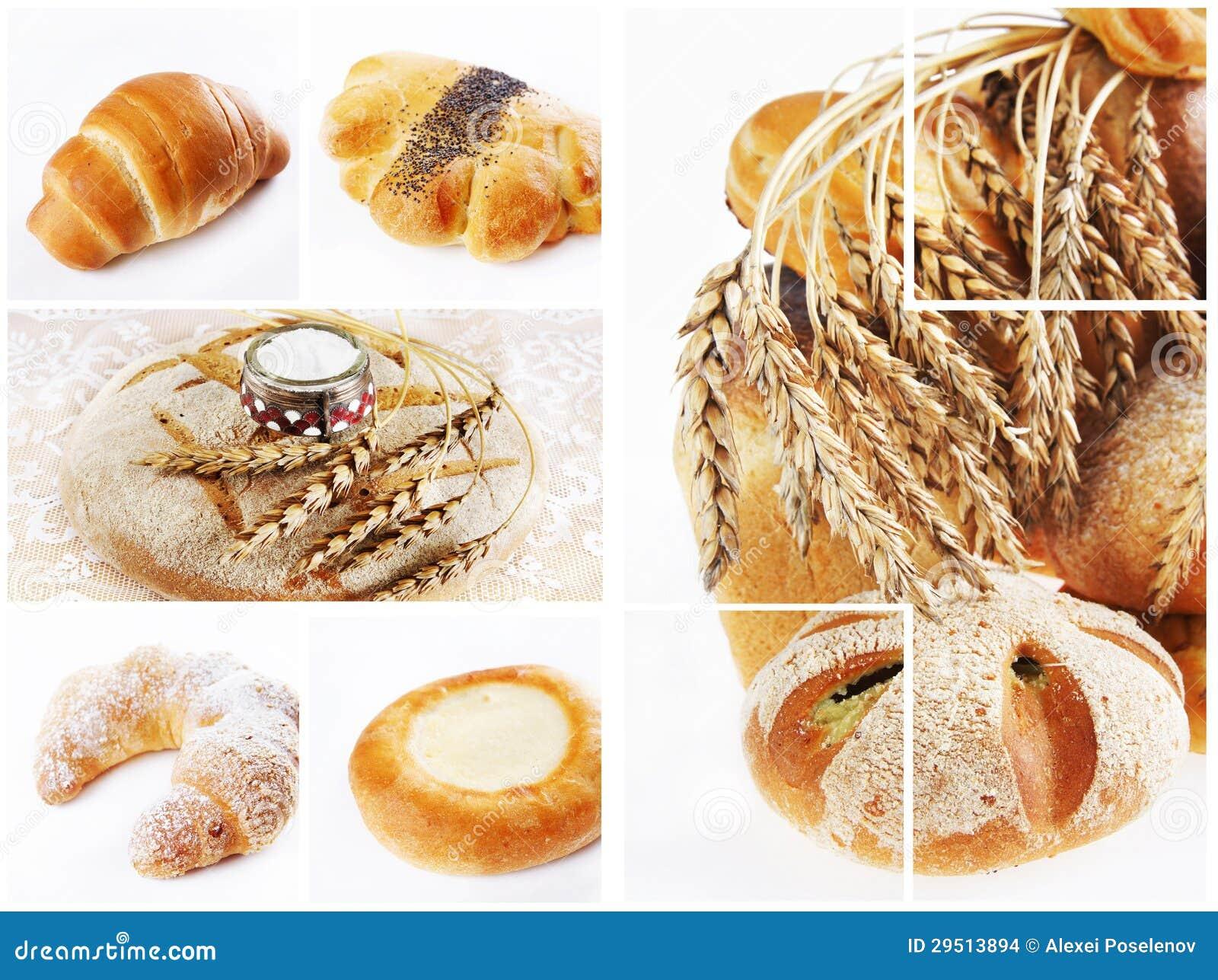 Collage del surtido de pan cocido