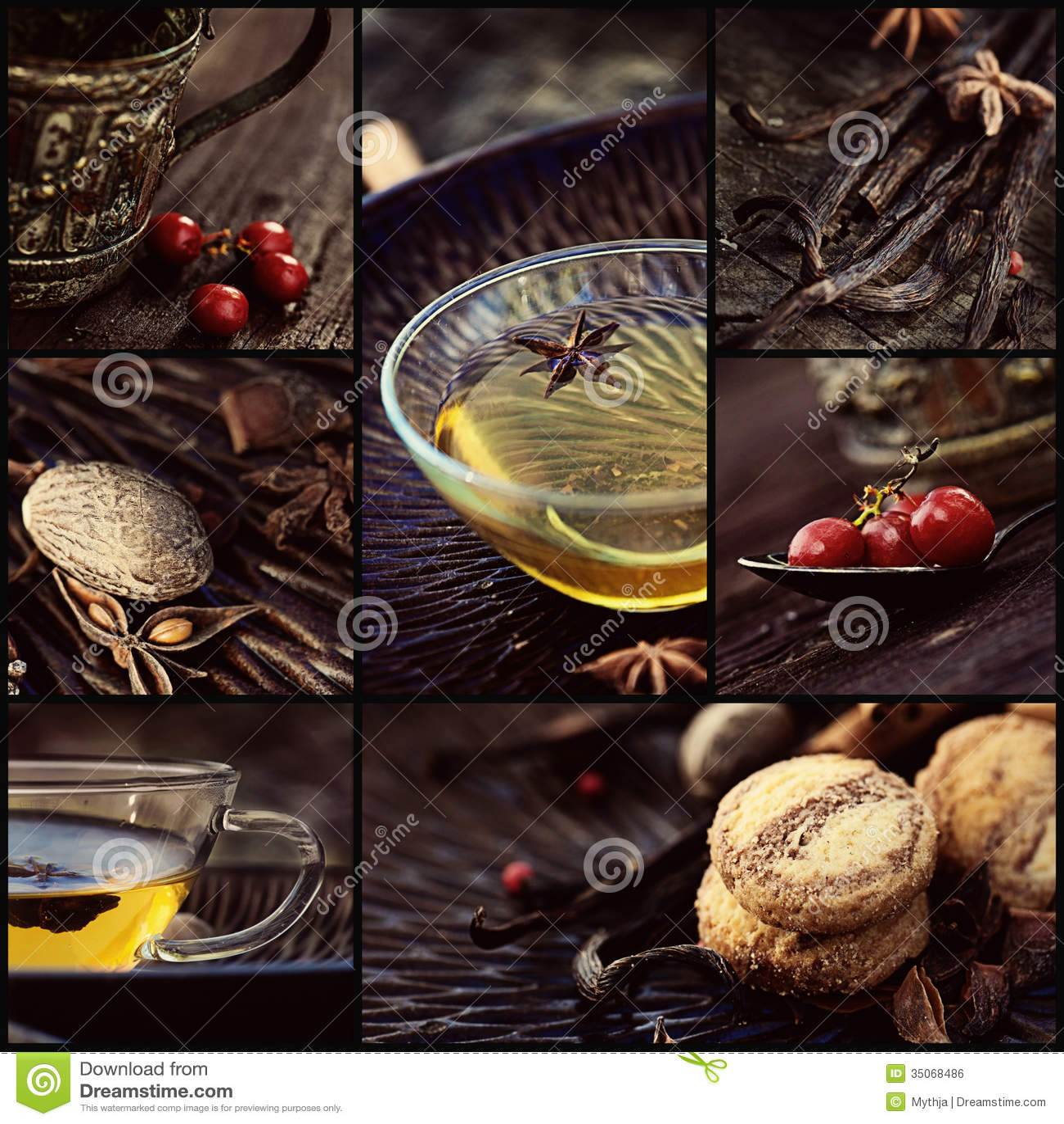 Collage del té del invierno