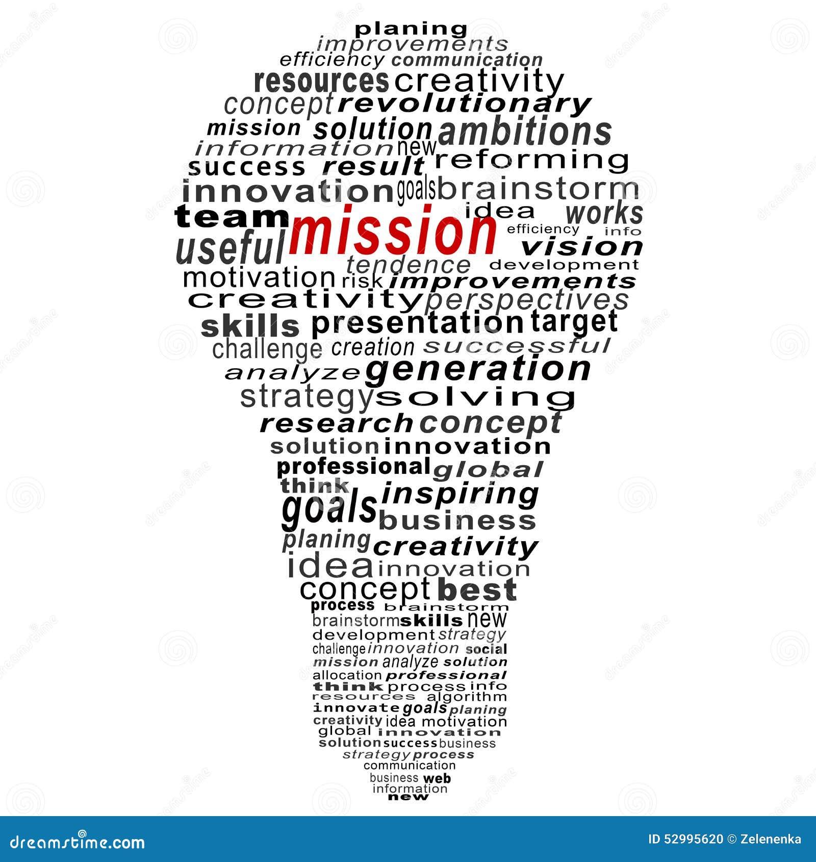 Collage del texto de la misión compuesto en la forma de bulbo