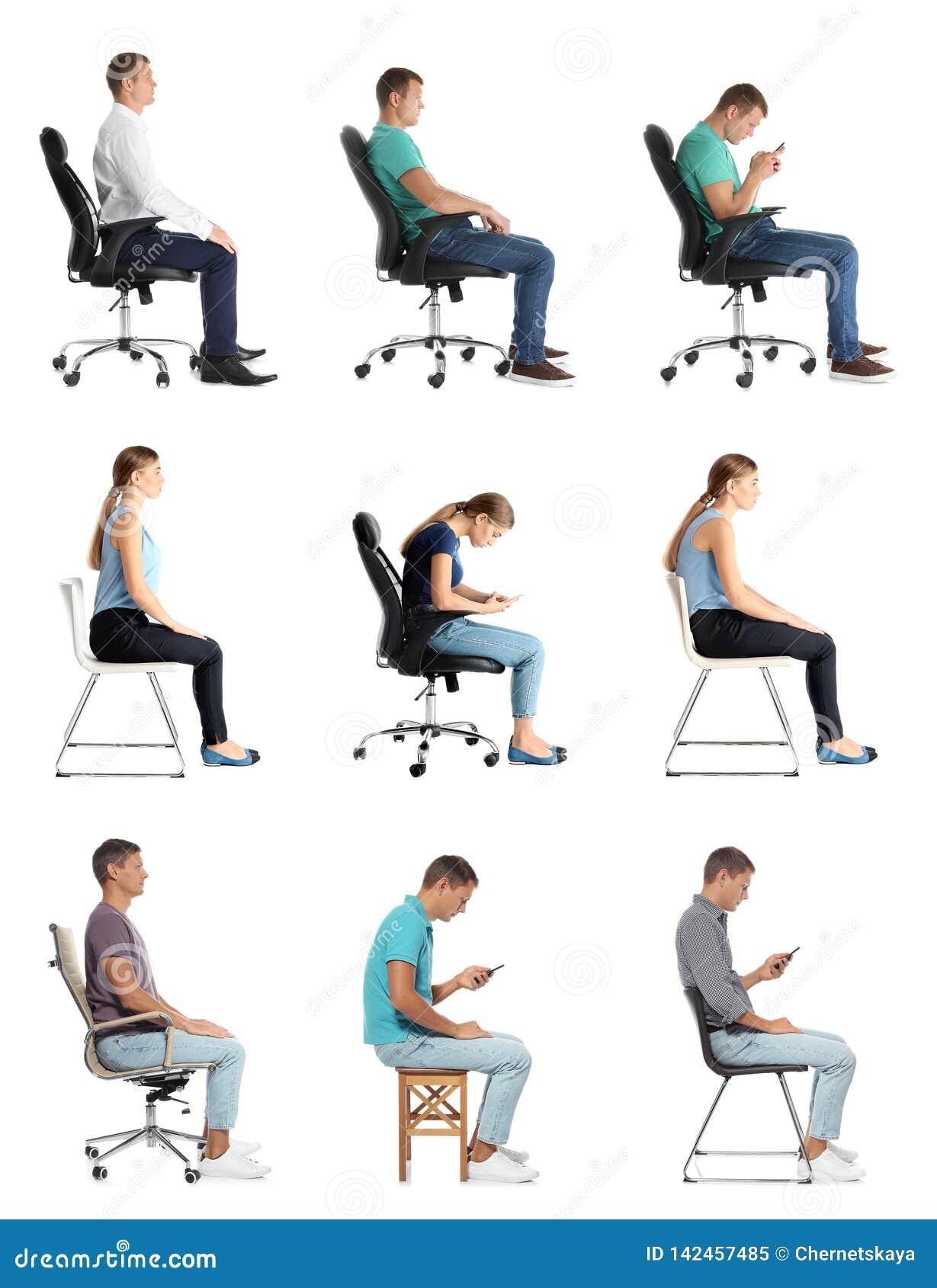 Collage della gente che si siede sulle sedie contro il bianco Concetto di posizione