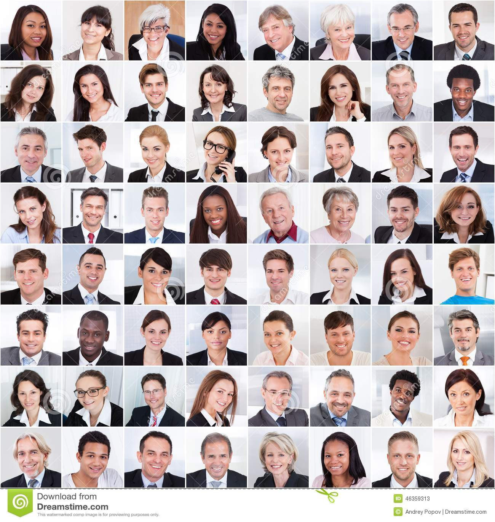 Collage della gente di affari sorridere