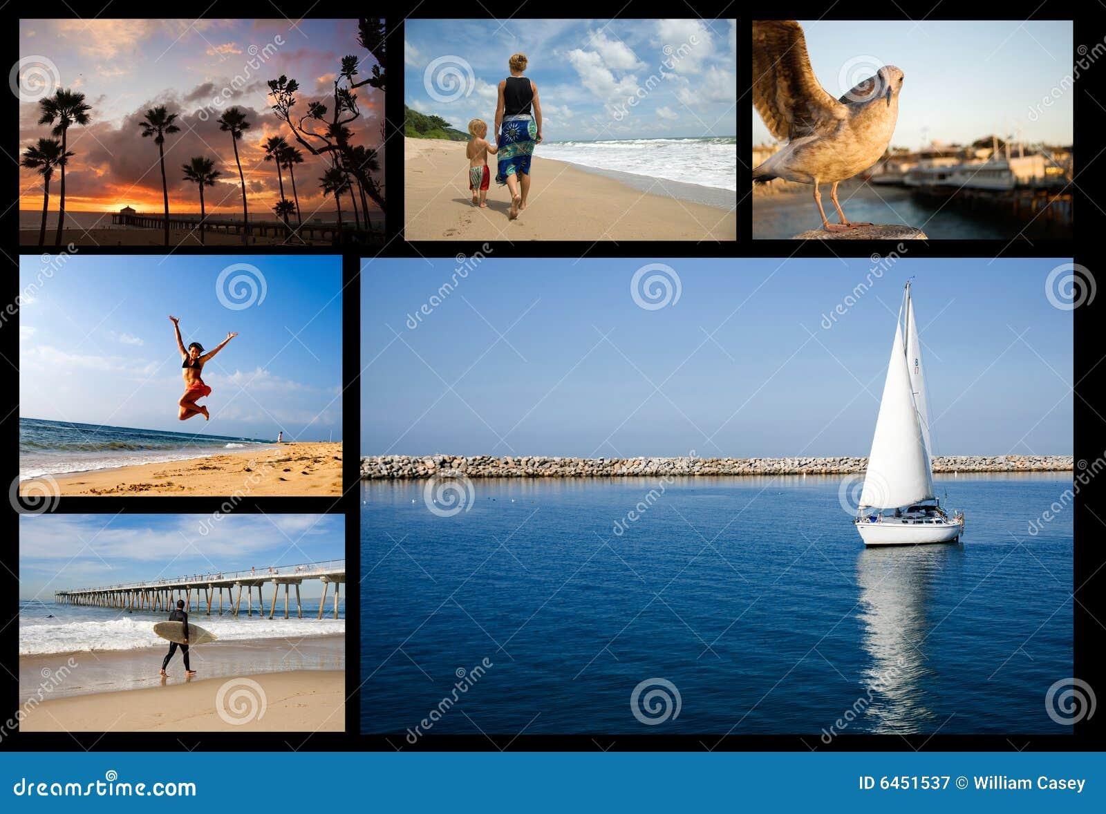 Collage della spiaggia di festa
