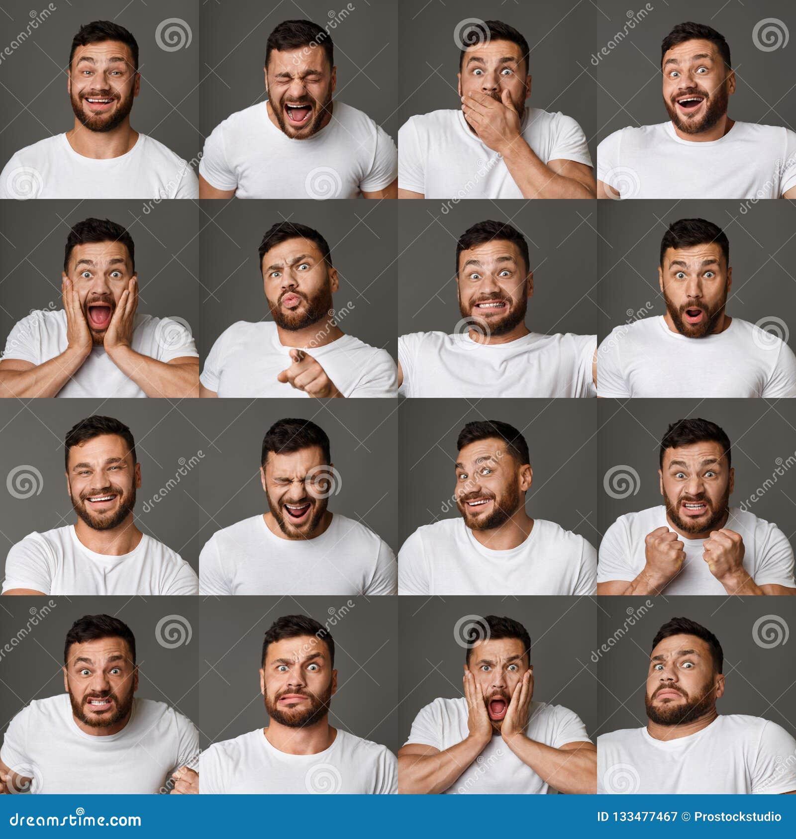 Collage delle espressioni e delle emozioni del giovane