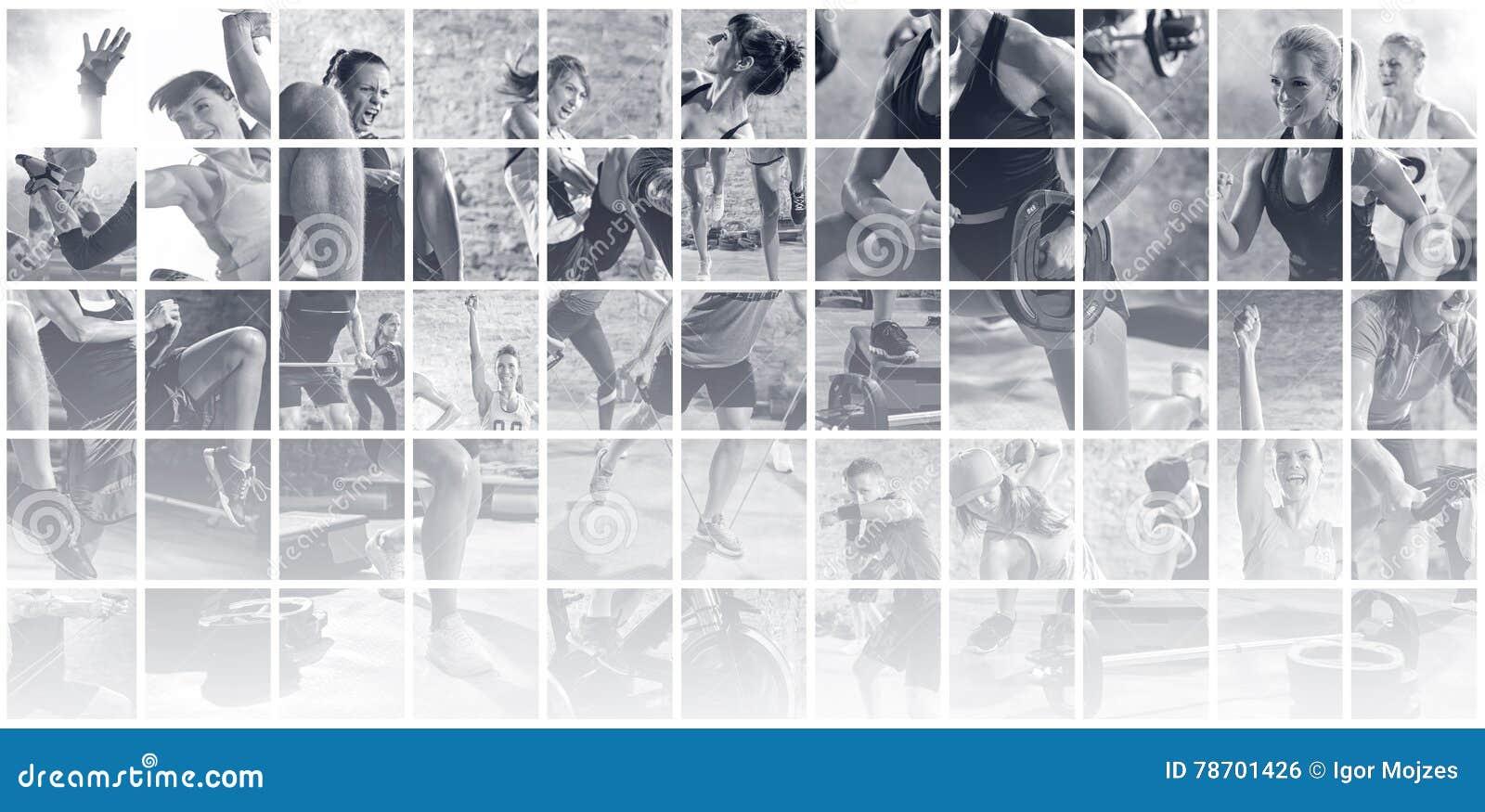 Collage delle foto di sport con la gente