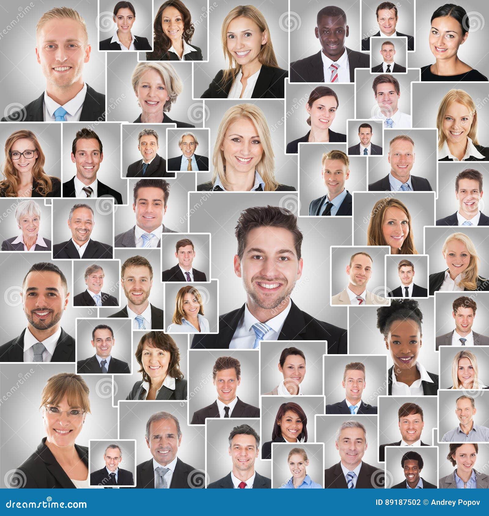 Collage delle persone di affari sorridenti