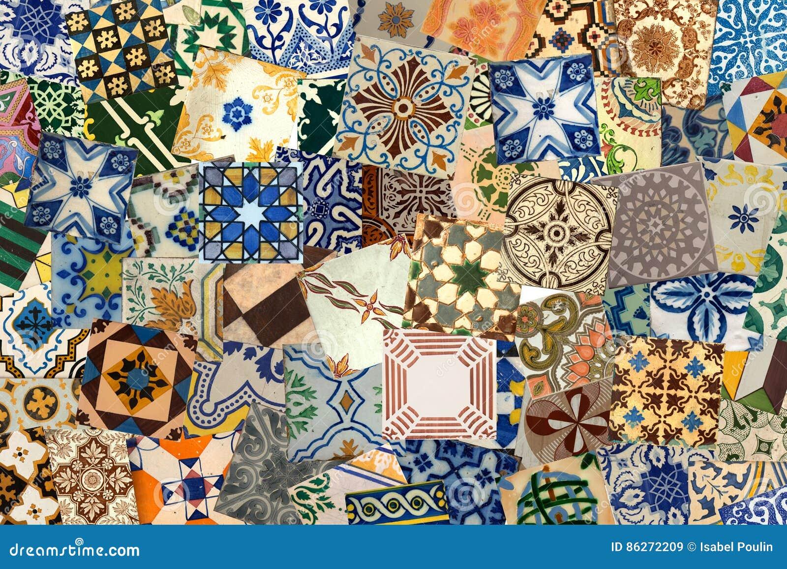 Collage delle piastrelle di ceramica dal portogallo immagine stock