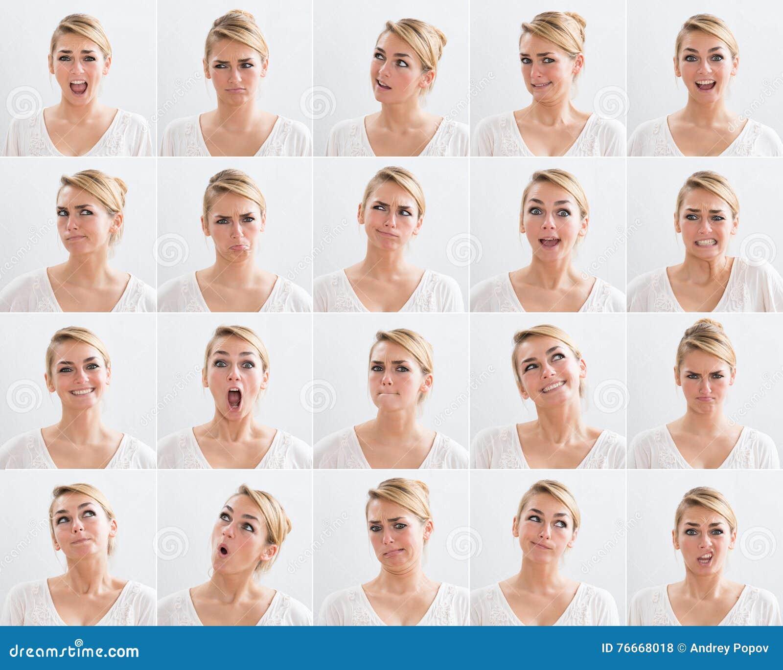 Collage der Frau mit verschiedenen Ausdrücken