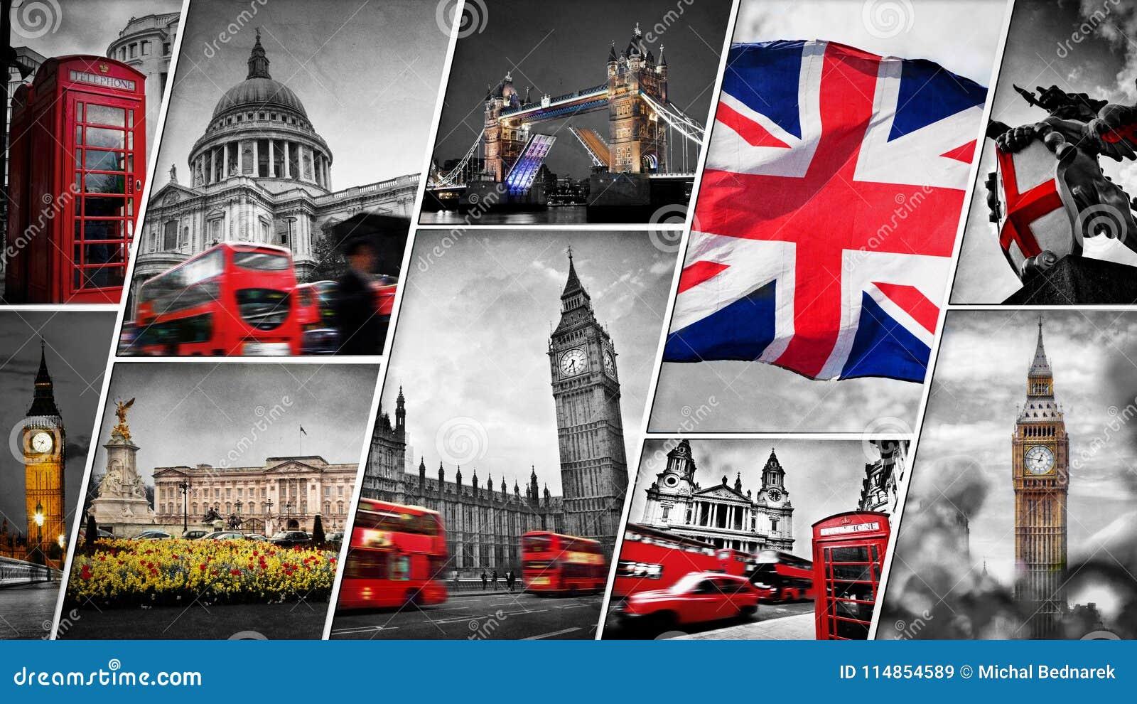 Collage der Symbole von London, Großbritannien