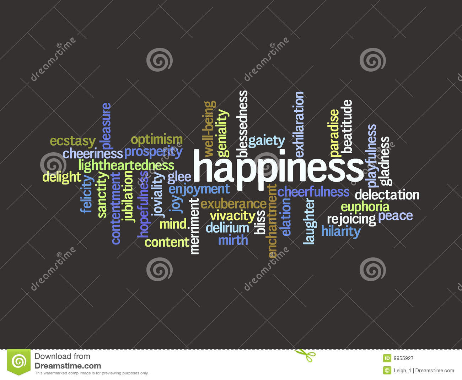 Collage Der Synonyme Für Glück Vektor Abbildung Illustration Von