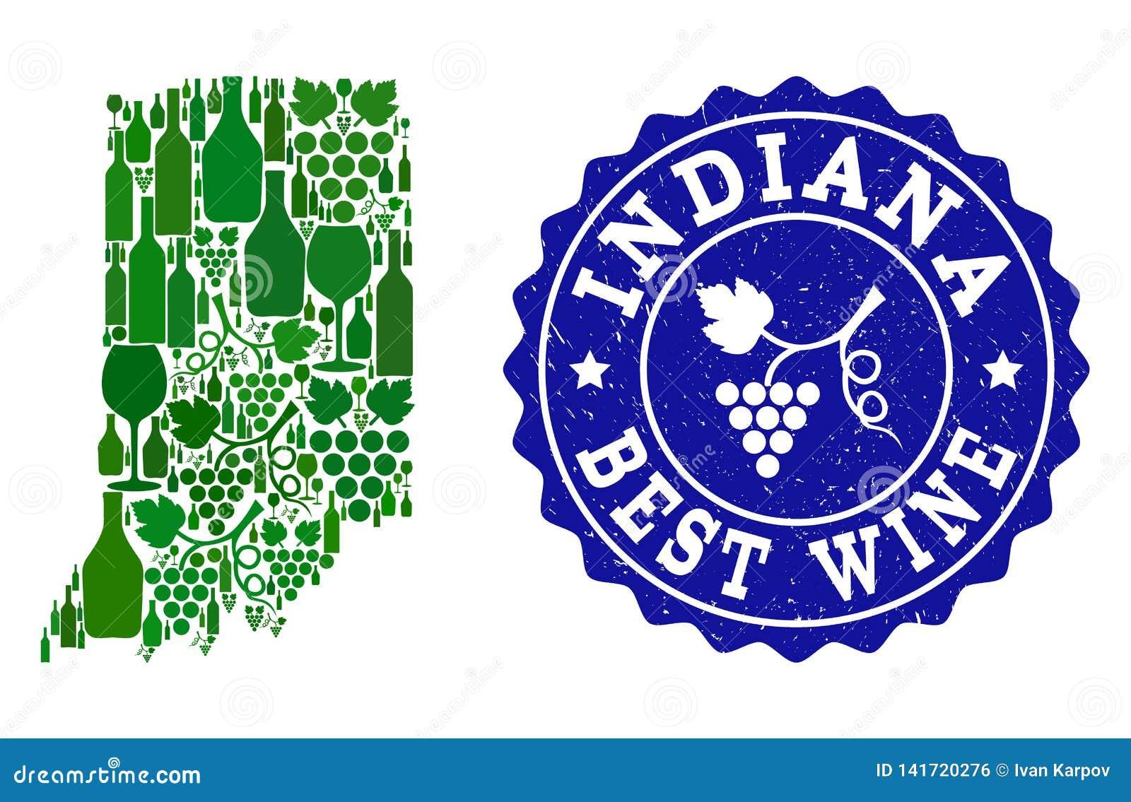 Collage der Trauben-Wein-Karte von Indiana State und von bestem Wein-Schmutz-Wasserzeichen