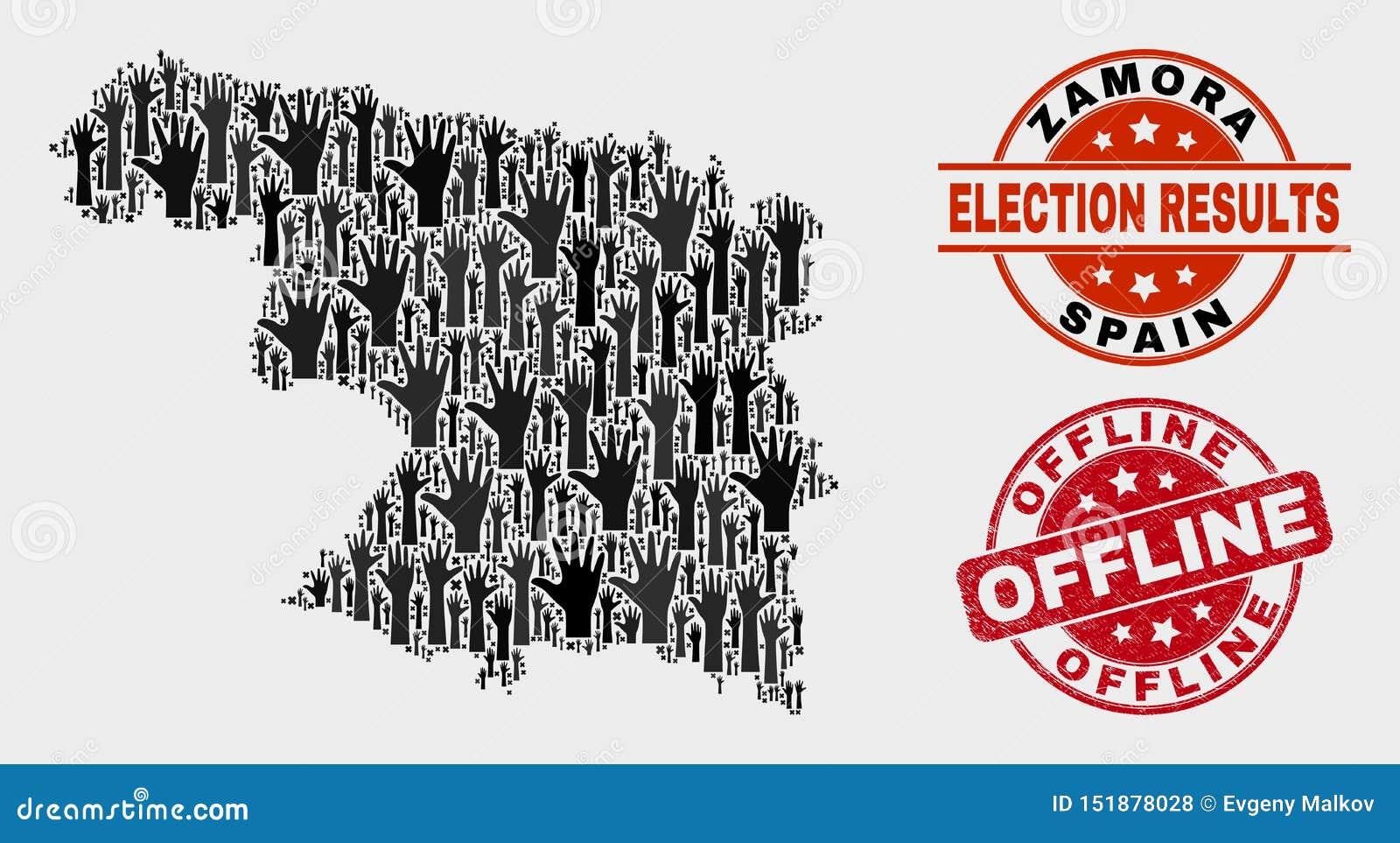 Collage der Wahl-Zamora-Provinz-Karte und der verkratzten Offlinedichtung
