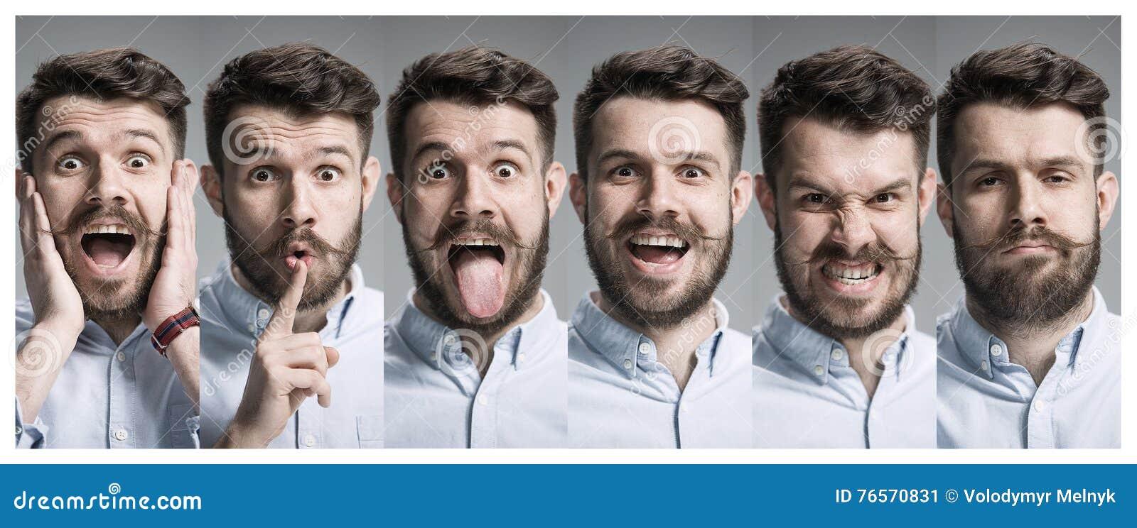 Collage des émotions heureuses et étonnées