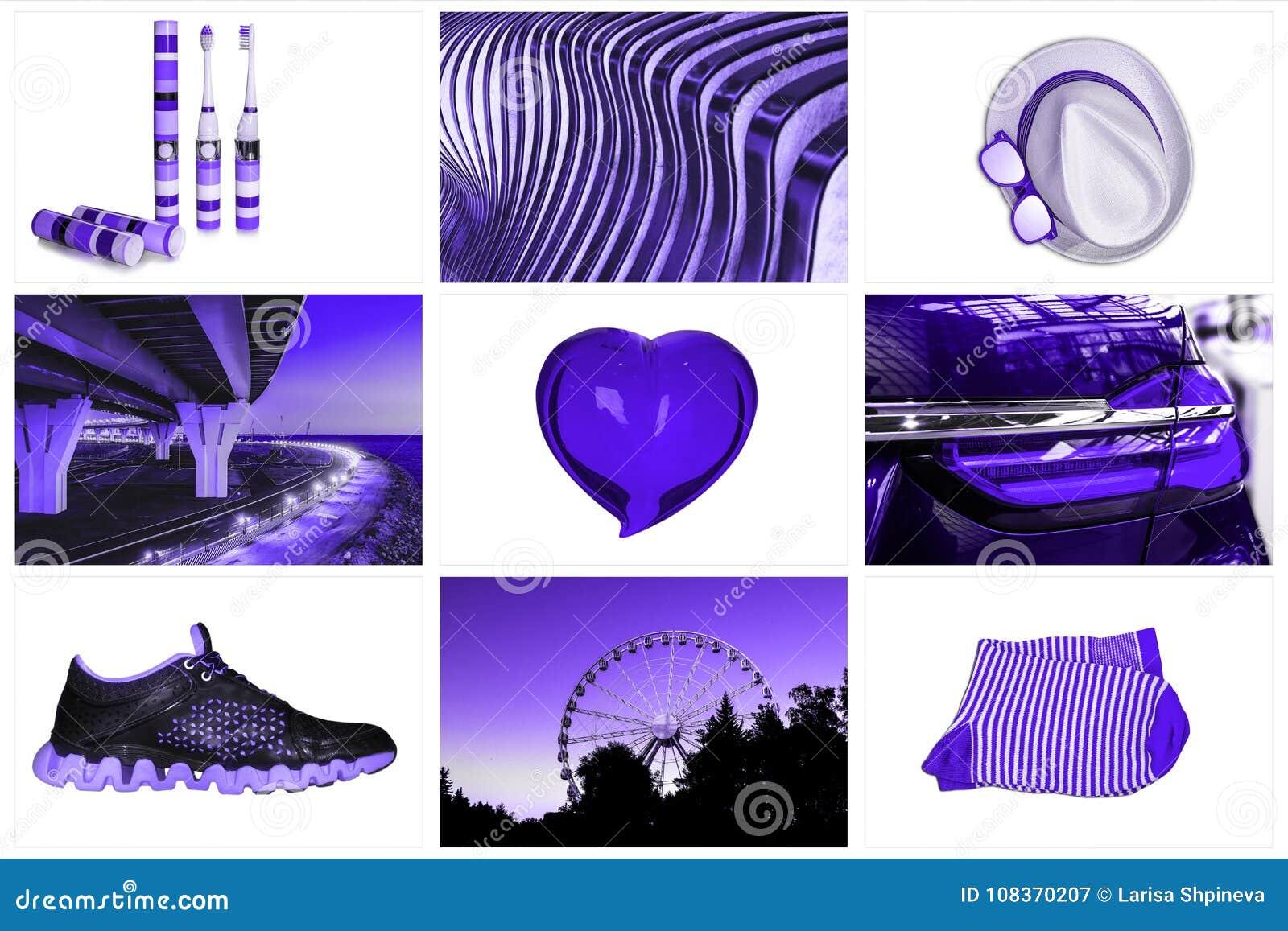 Collage des accessoires de mode un coeur en verre, un chapeau, brosses à dents, chaussettes, espadrilles, ponts, une couleur de t