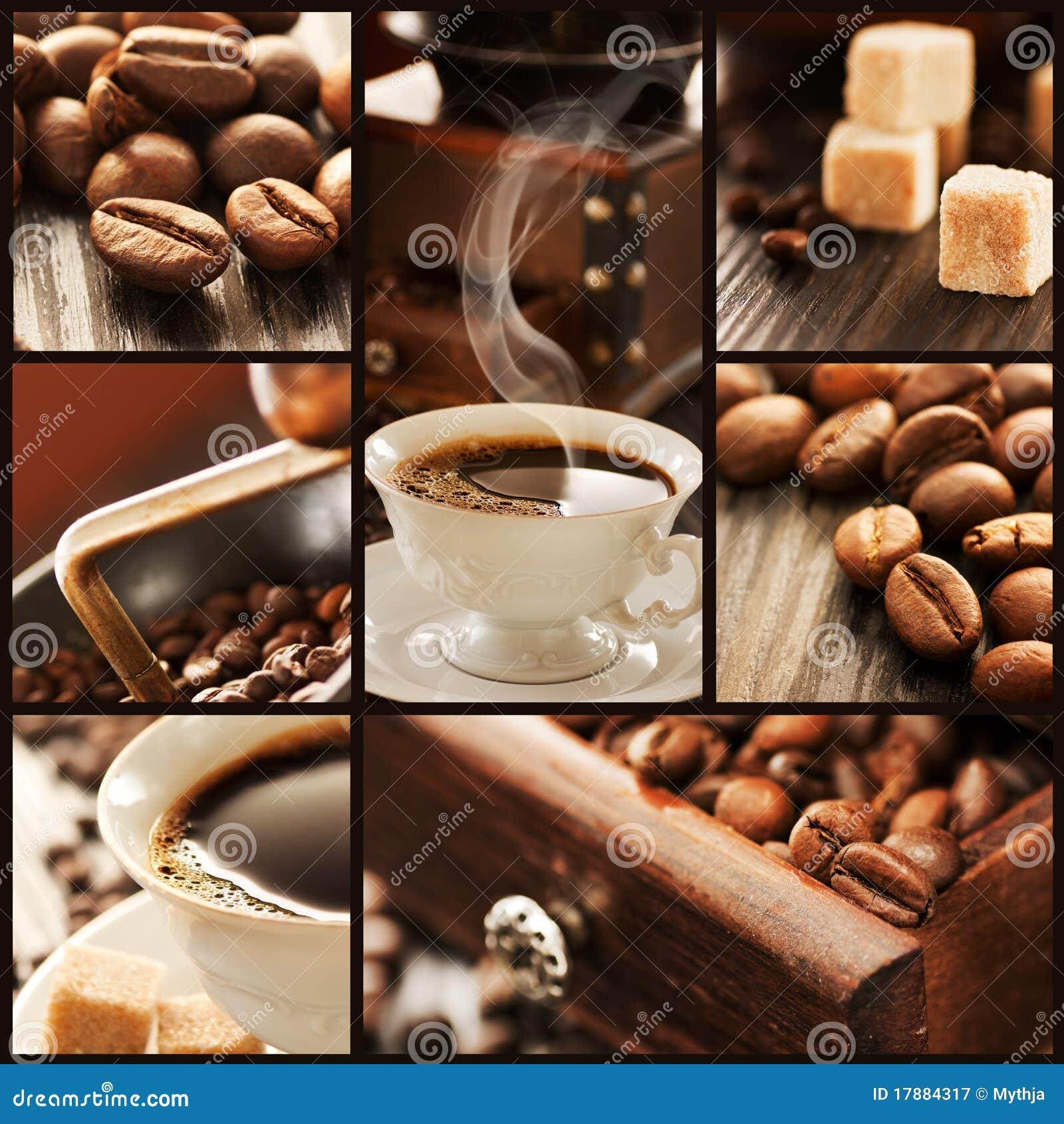 Collage des détails de café.