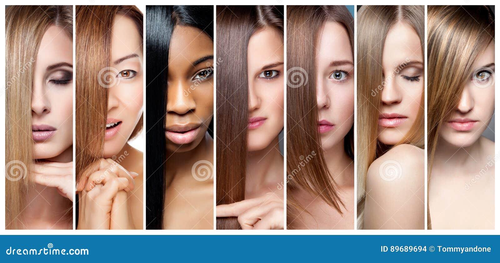 Collage des femmes avec la divers couleur, teint et teint de cheveux