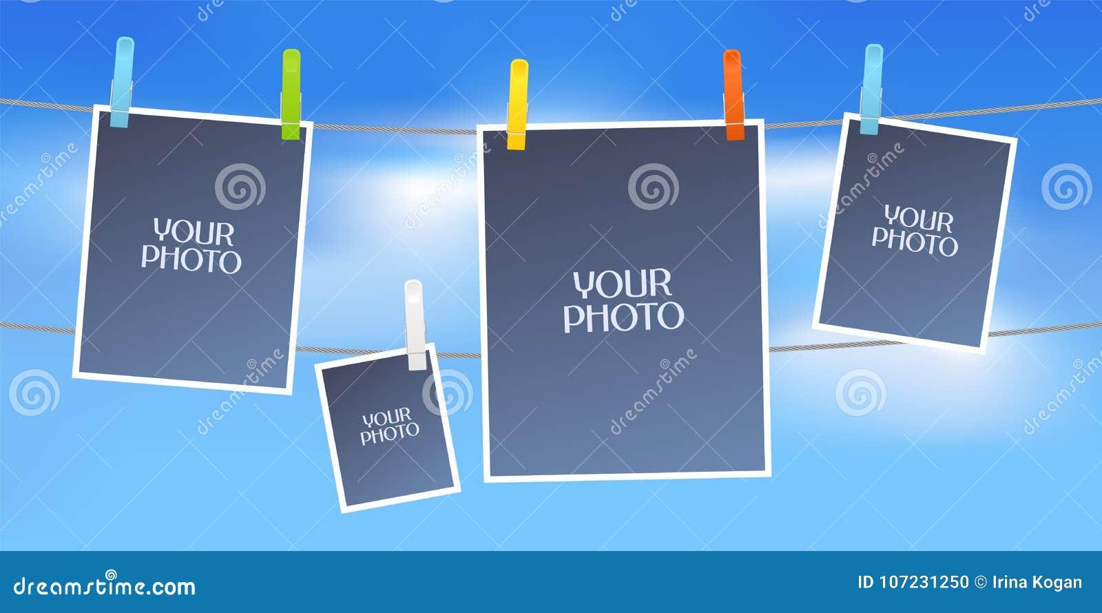 Collage des Fotos gestaltet Vektorillustration