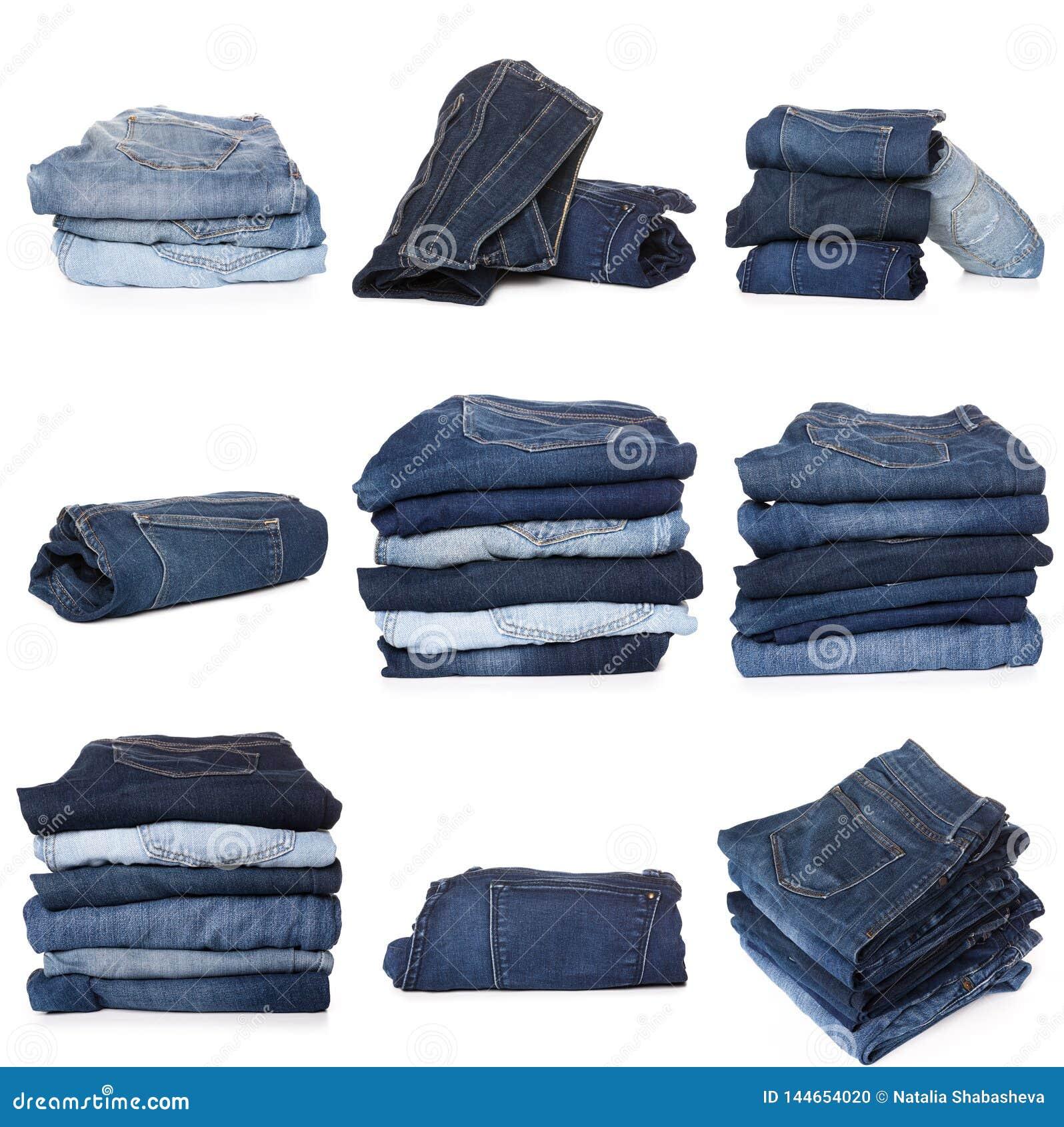 Collage des jeans d isolement sur le blanc