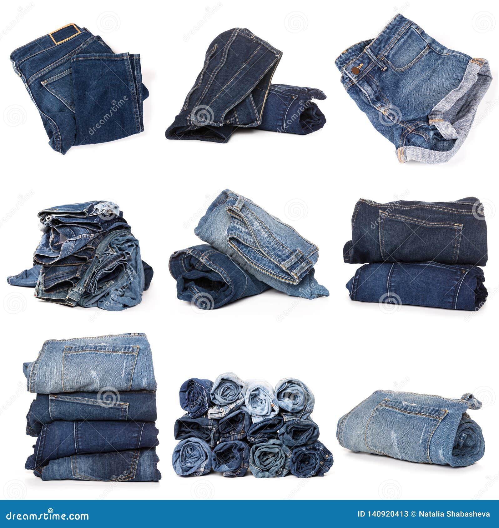 Collage des jeans sur le blanc