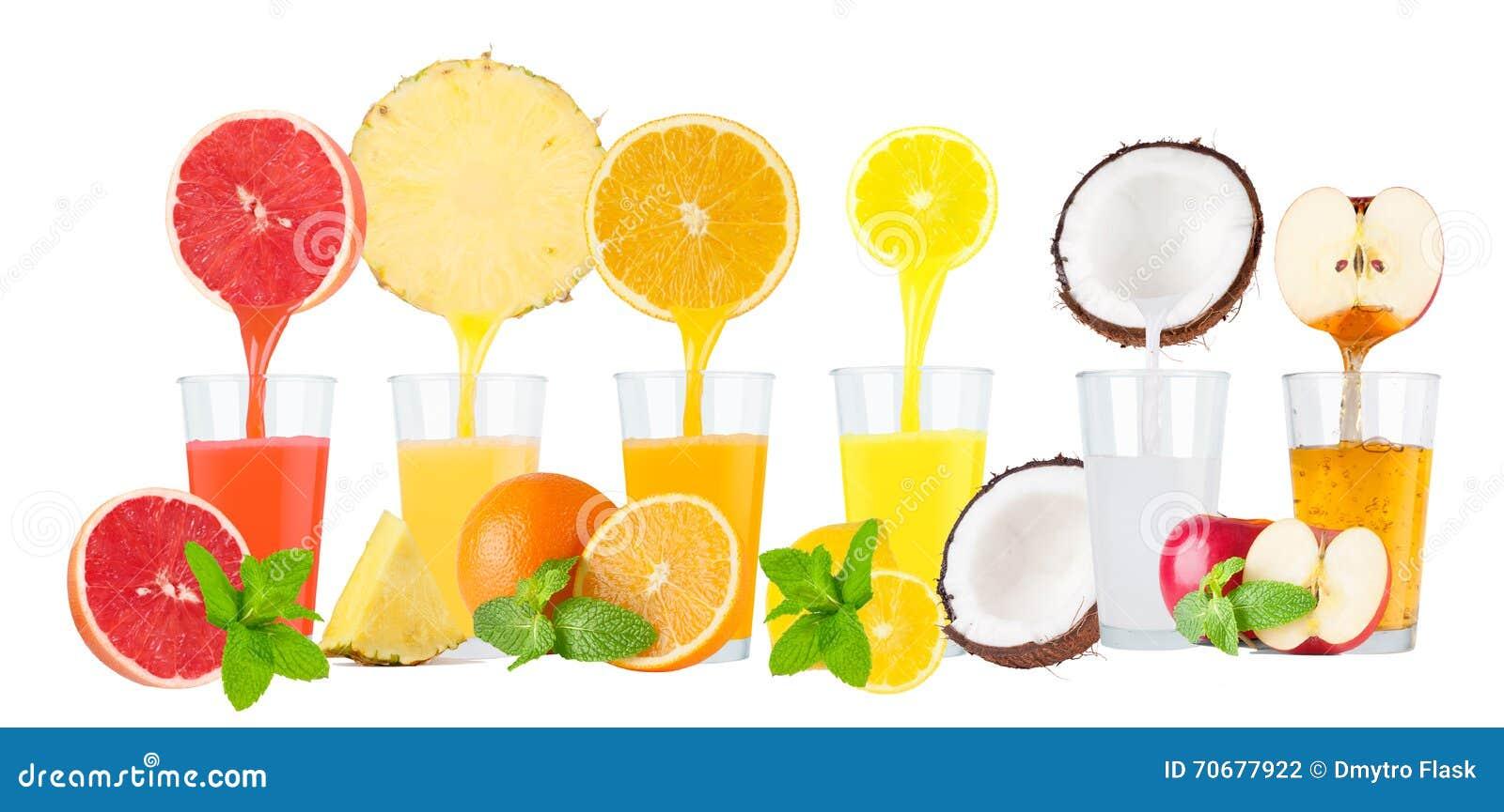 Collage des jus de fruit frais sur le fond blanc