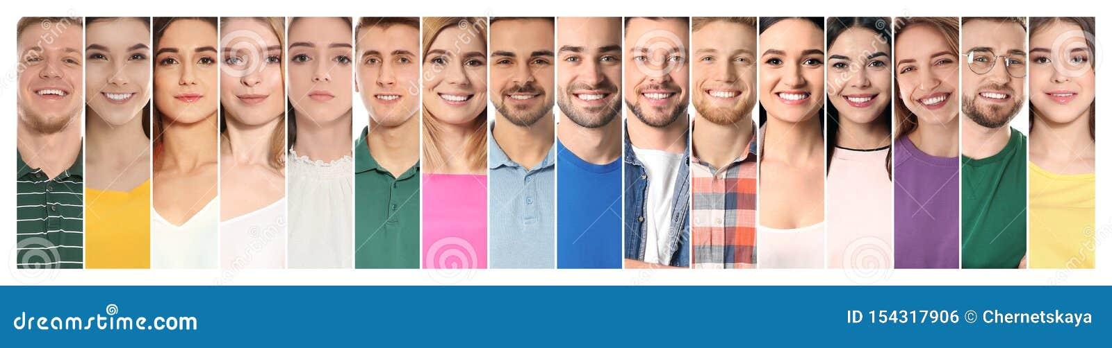 Collage des personnes de sourire, plan rapproché