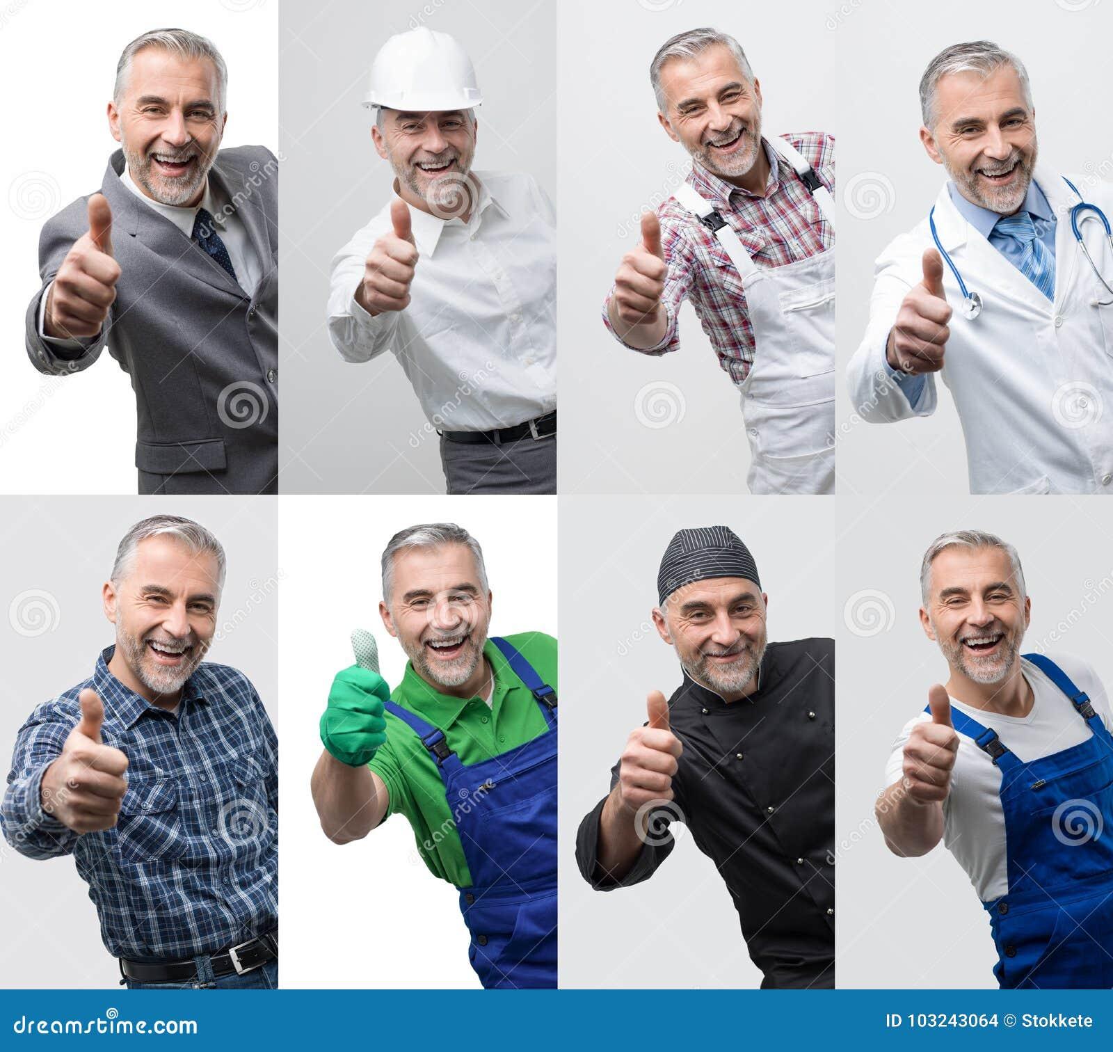 Collage des portraits professionnels de travailleurs