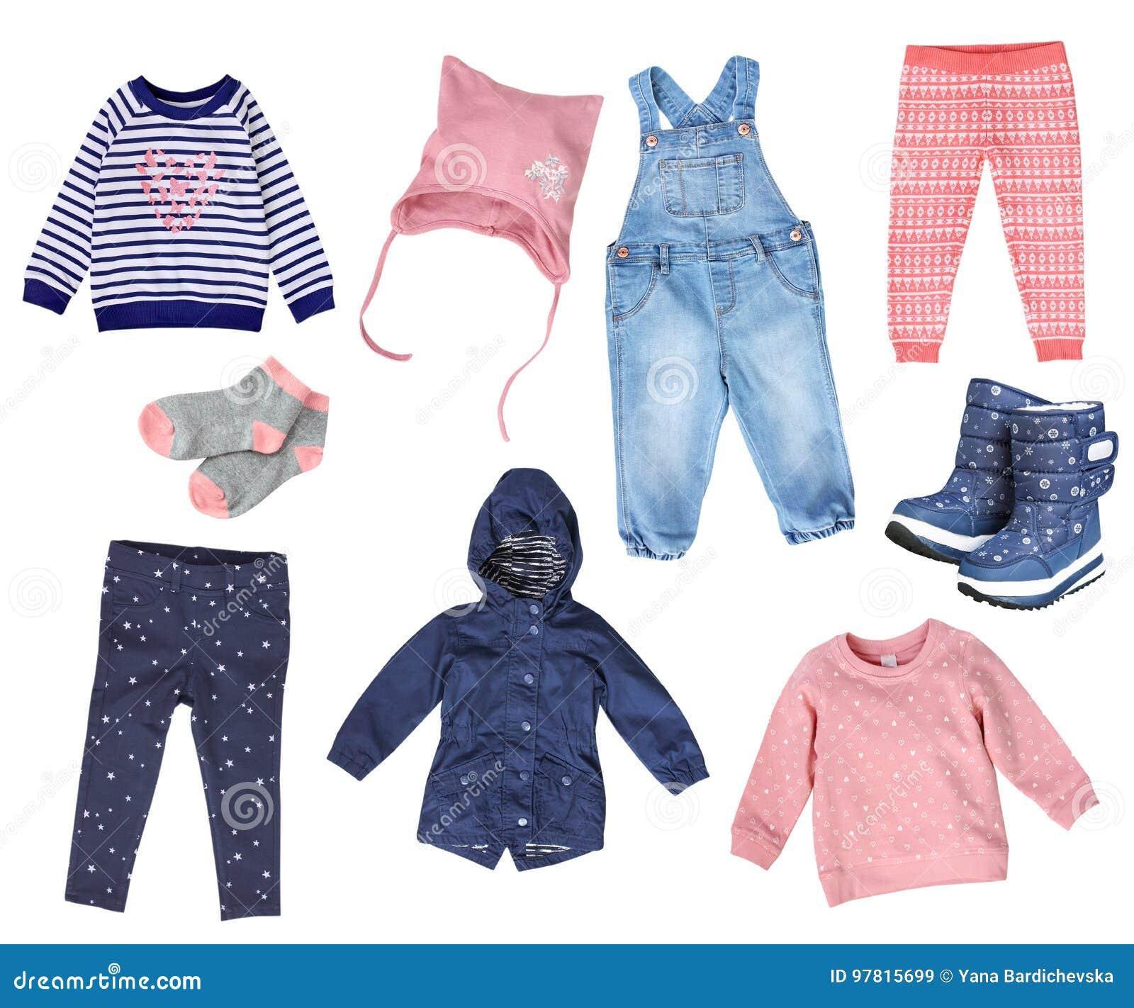 2c6395dad8fea Collage Des Vêtements De Mode De Fille D enfant D isolement Image ...