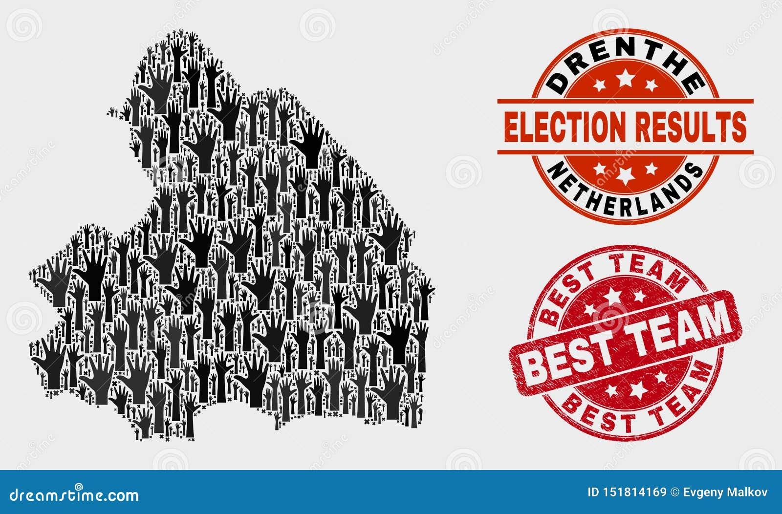 Collage des Wahl-Drenthe-Provinz-Karten-und Schmutz-Besten Team Stamp Seal