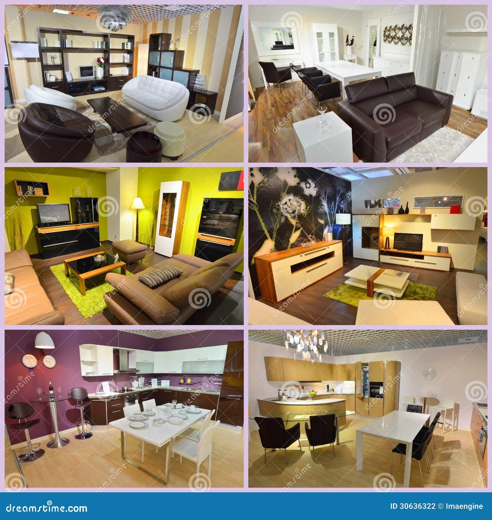 Collage Des Wohnzimmers Und Des Esszimmers Stockfoto Bild Von Esszimmers Wohnzimmers 30636322