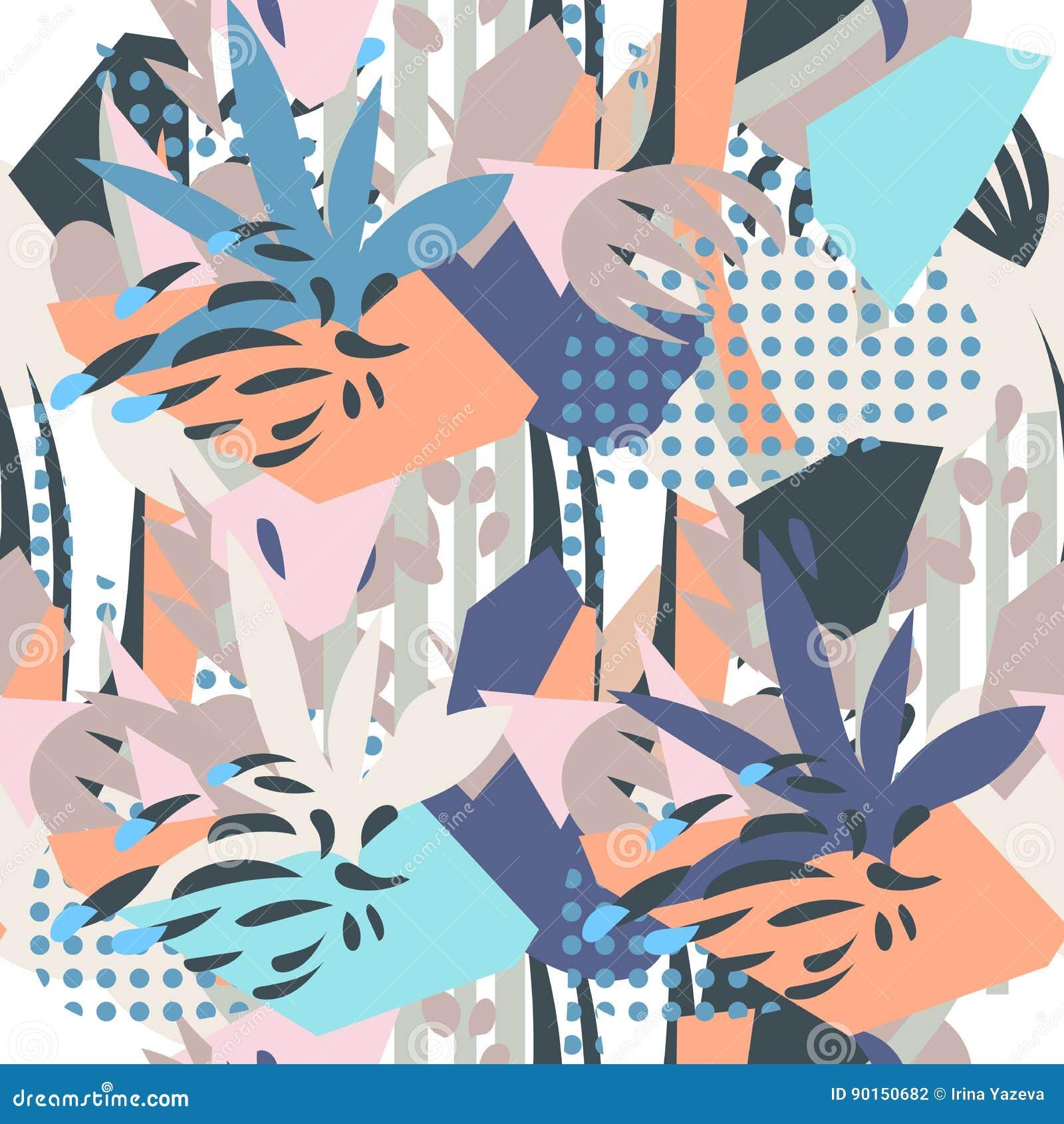 Collage di carta degli elementi floreali astratti