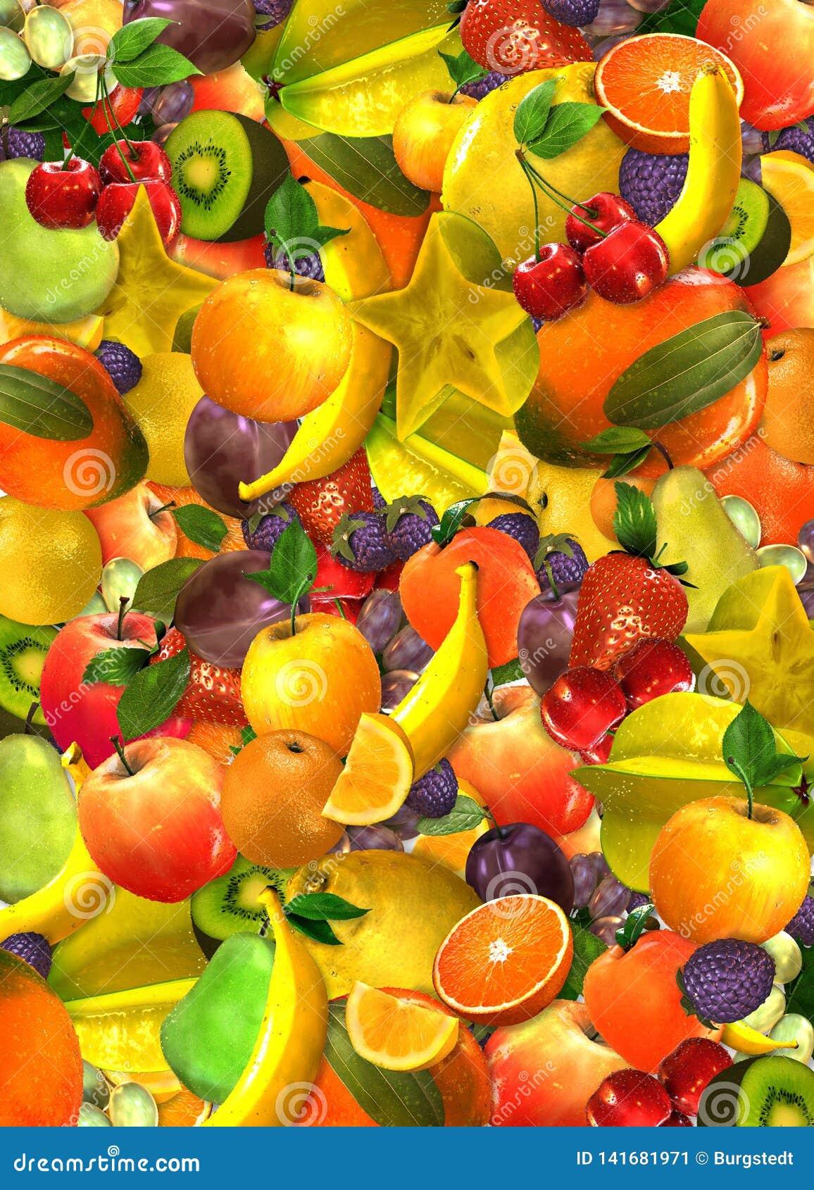 Collage di molti frutti sovrapposti differenti nei colori differenti