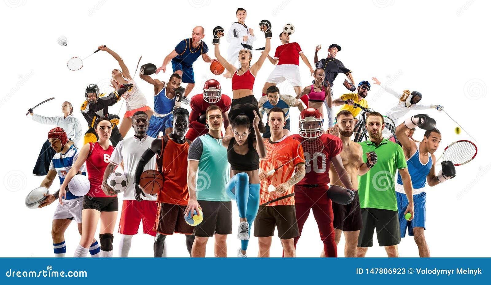 Collage di sport circa gli atleti femminili o i giocatori Il tennis, funzionamento, volano, pallavolo