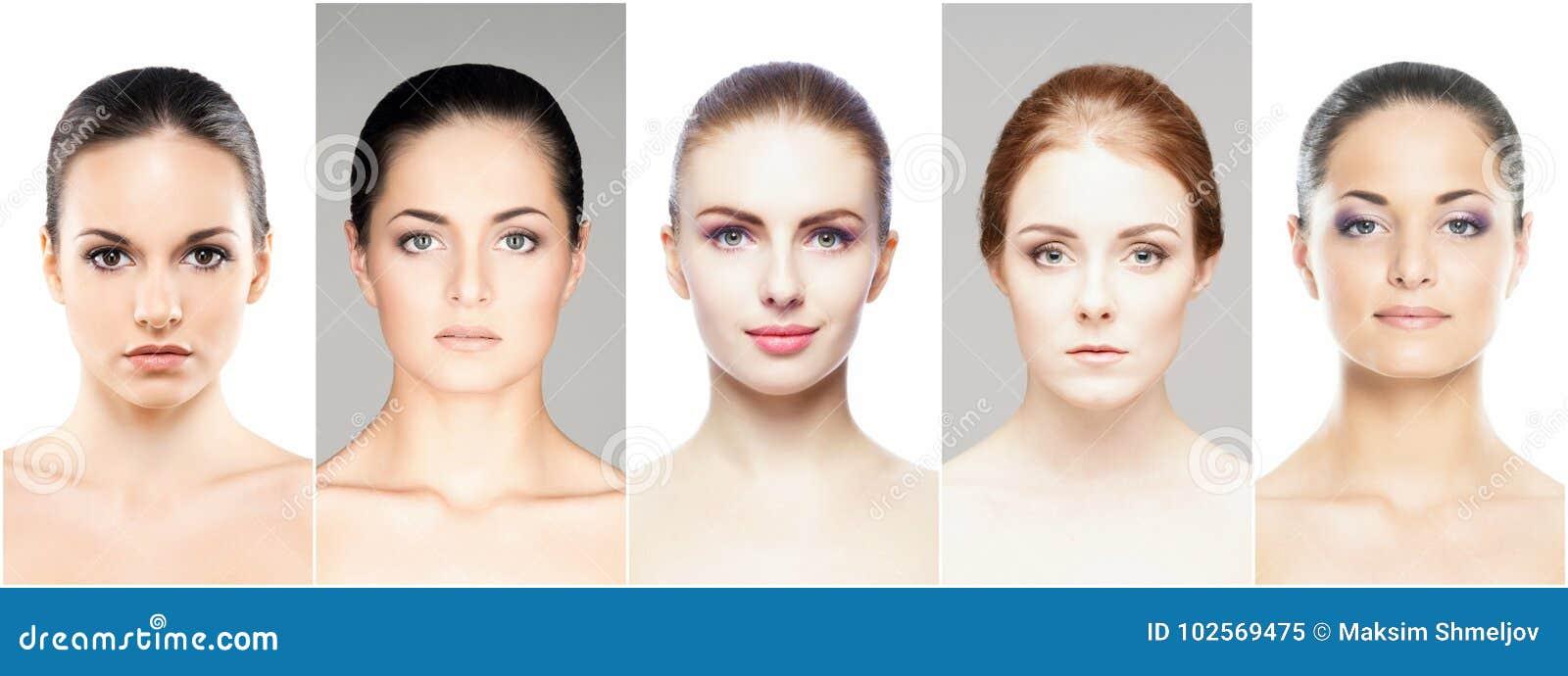 Collage di vari ritratti della femmina della stazione termale