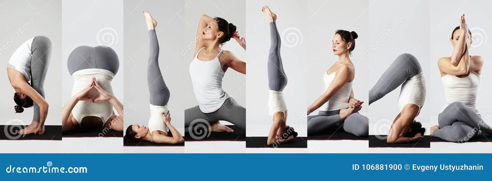 Collage di yoga Giovane donna che fa le esercitazioni di yoga