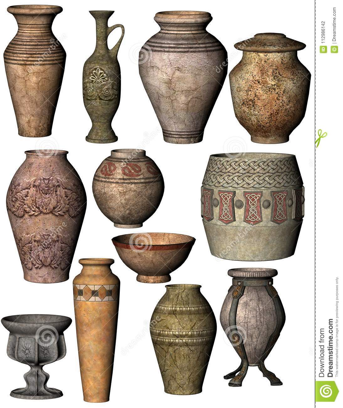 Collage Of Ancient Pottery Including Bowls, Urns And Vases