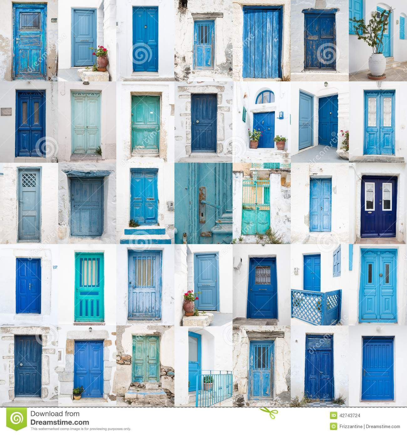 Collage of different blue old wooden doors from greek islands - Stock Images  sc 1 st  Dreamstime.com & Old blue doors stock image. Image of cobbled door streat - 35950845