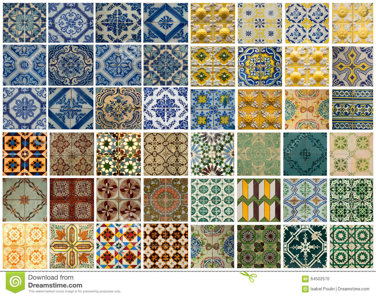 Collage Of Different Colored Pattern Tiles In Portugal Stock Photo Image 64502570