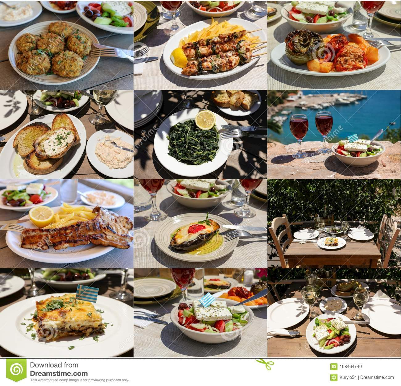 Collage of different meat and vegetables dishes of delicious greek cuisine, tasty greek summer holidays concept.
