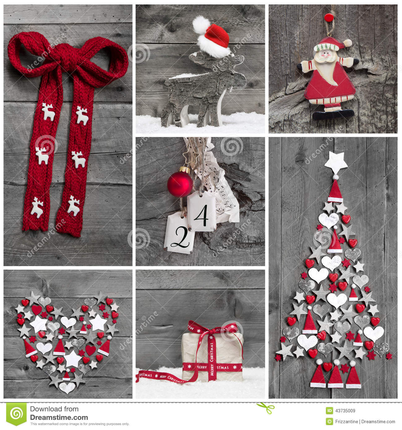 Red and white christmas decorations - Collage Of Different Red White And Grey Christmas Decoration On Stock Photo