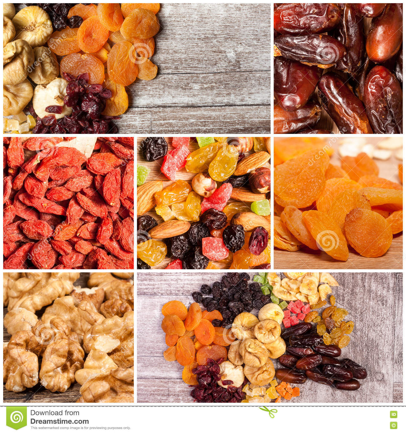 Collage Of Different Type Of Dry Fruits And Nuts Stock Image